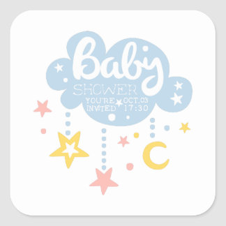Cloud And Stars Baby Shower Invitation Design Temp Square Sticker