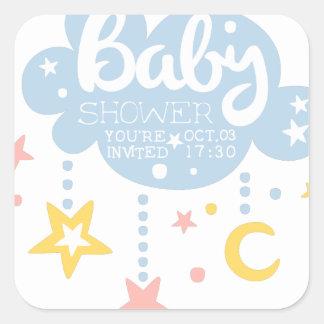 Cloud And Stars Baby Shower Invitation Design Temp Square Sticker