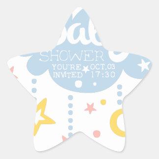 Cloud And Stars Baby Shower Invitation Design Temp Star Sticker