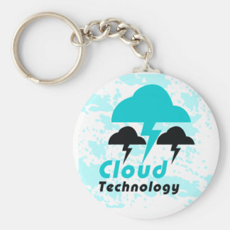 Cloud Basic Round Button Key Ring