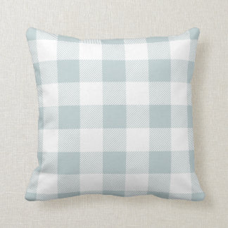 Cloud Blue Preppy Buffalo Check Plaid Cushion