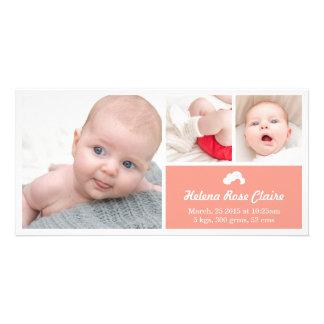 Cloud Coral Birth Announcement Photo Card
