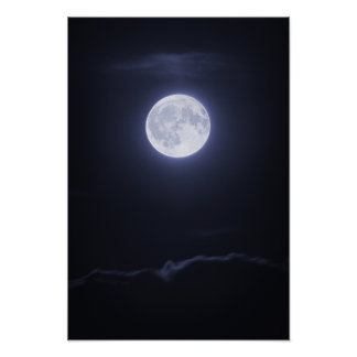 Cloud Covering Full Moon Poster