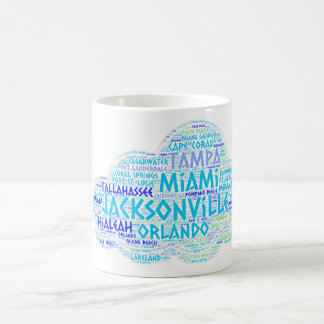 Cloud illustrated with cities of Florida State USA Coffee Mug