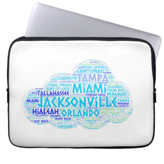 Cloud illustrated with cities of Florida State USA Laptop Sleeve