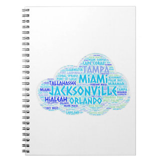 Cloud illustrated with cities of Florida State USA Notebook