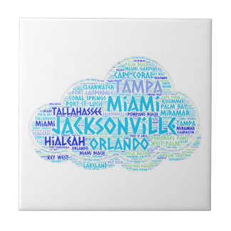 Cloud illustrated with cities of Florida State USA Tile