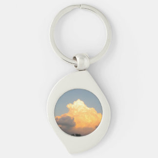Cloud Keychain Silver-Colored Swirl Key Ring