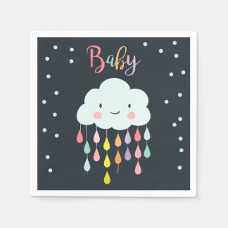 Cloud Paper Napkin Baby sprinkle Raindrops Shower