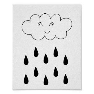 Cloud & raindrops poster nursery children's room