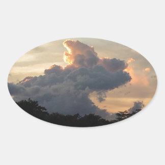 Cloud Shark Oval Sticker