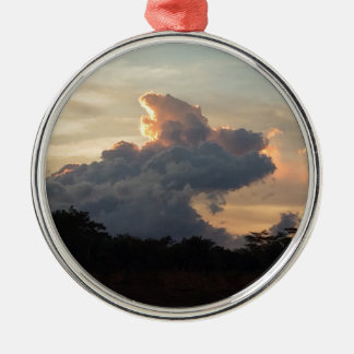 Cloud Shark Silver-Colored Round Decoration