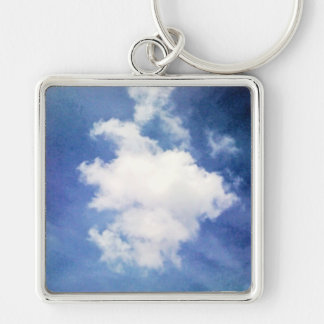 cloud Silver-Colored square key ring