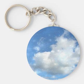 Cloud Sparkles Round Keychain