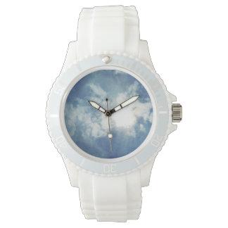 Cloud Theme Sporty White Silicon Wrist Watch