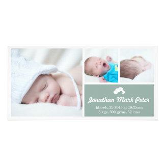 Cloud Vintage Green Birth Announcement Photo Card