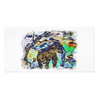 Clouded-Colour- Elephant Customized Photo Card