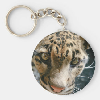 Clouded Leopard Basic Round Button Key Ring