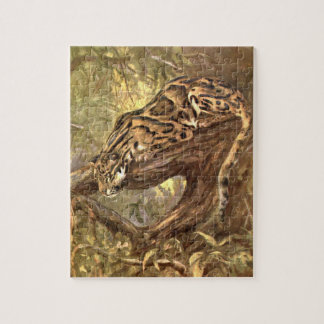 Clouded Leopard by CE Swan, Vintage Wild Animals Jigsaw Puzzle