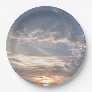 Clouds 9 Inch Paper Plate