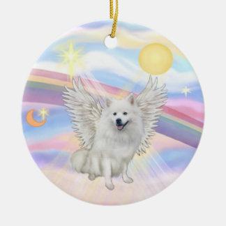 Clouds - American Eskimo Dog Round Ceramic Decoration
