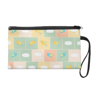 Clouds and birds wristlet