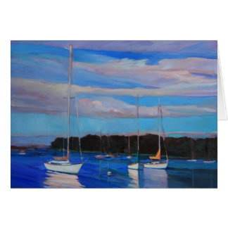 Clouds and Boats at Sunset Card