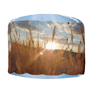 Clouds and the Sun Shining through a Wheat Field Pouf