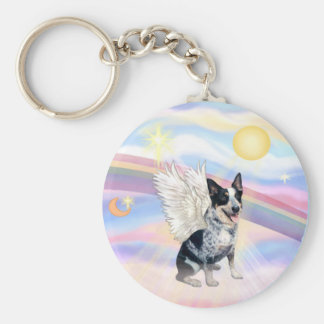 Clouds - Australian Cattle Dog Angel - Square Key Ring