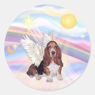 Clouds - Basset Hound Angel Classic Round Sticker