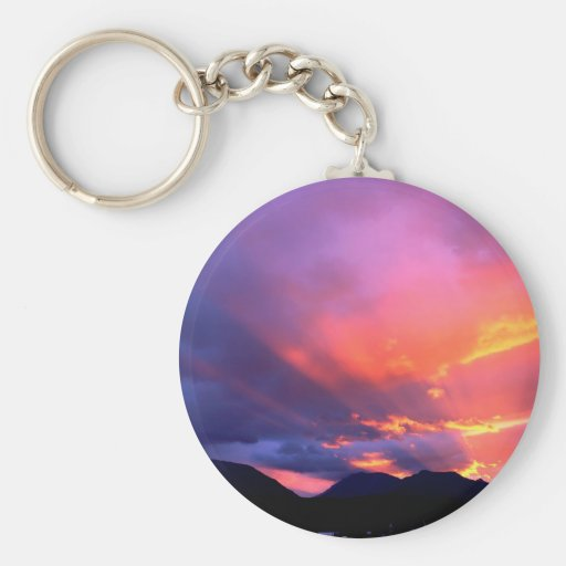 Clouds Breaking Sunset Keychain