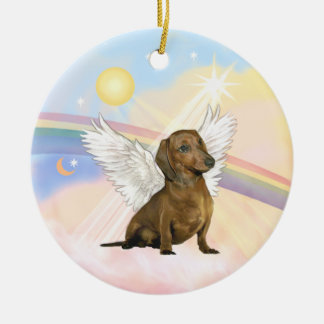Clouds - Dachshund Angel (brown) Ceramic Ornament