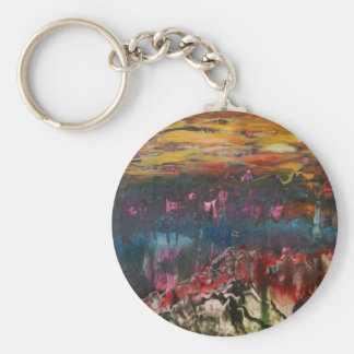 Clouds drifting over landscape basic round button key ring