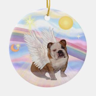 Clouds - English Bulldog Angel Round Ceramic Decoration