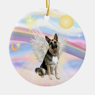 Clouds - German Shepherd (#3) Ceramic Ornament