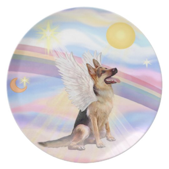 Clouds - German Shepherd Angel Plate