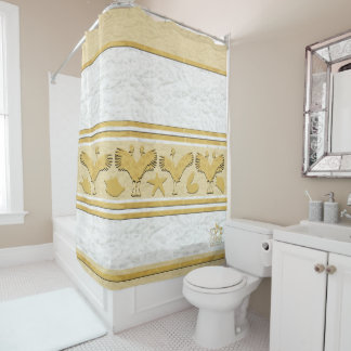 Clouds Gold Shell Cranes Shower Curtain