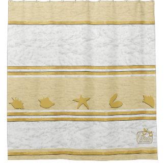 Clouds Gold Shells Plain Shower Curtain