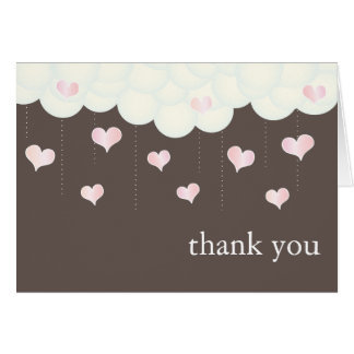 Clouds & Hearts Baby Girl Thank You Card