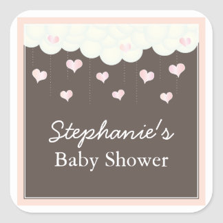 Clouds & Hearts Baby Shower for Girl Favor Sticker