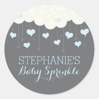 Clouds & Hearts Baby Sprinkle Boy Favor Sticker