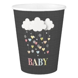 Clouds + Hearts Neutral Baby Shower Paper Cup
