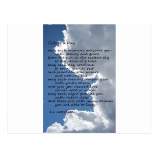 Clouds in blue sky with poem postcard