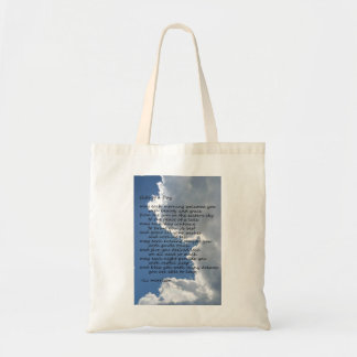 """Clouds in sky with poem """"Gifts of a Day"""" Tote Bag"""