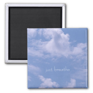 Clouds, just breathe square magnet