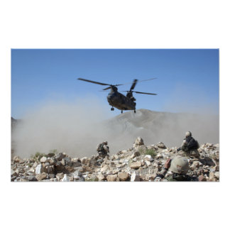 Clouds of dust kicked up by the rotor wash photo art