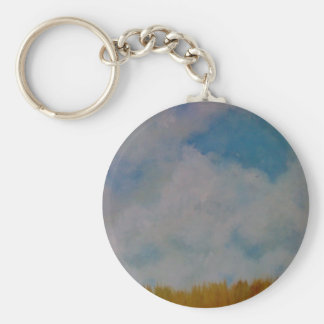 Clouds on things basic round button key ring