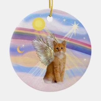 Clouds - Orange Tabby Tiger Cat Angel Round Ceramic Decoration