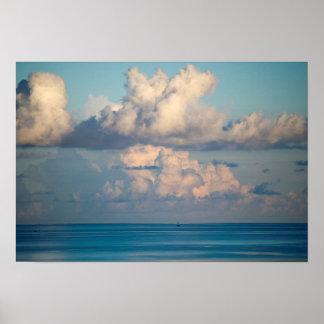 Clouds over a blue Horizon FL Coast (Semi-Gloss) Poster