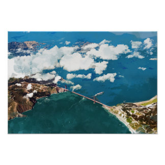Clouds Over Golden Gate Bridge and San Francisco Poster